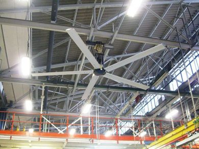 Auto Service Ceiling Fans Applications, Auto Service HVLS Fans Applications